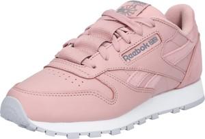 Różowe buty sportowe Reebok Classic ze skóry z płaską podeszwą