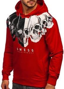 Czerwona bluza Denley w młodzieżowym stylu z bawełny z nadrukiem