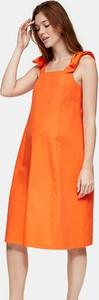 Topshop Maternity – Pomarańczowa sukienka midi z popeliny-Pomarańczowy