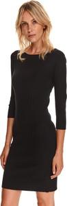 Czarna sukienka Top Secret mini z długim rękawem koszulowa