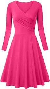 Różowa sukienka Cikelly z dekoltem w kształcie litery v midi