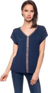Granatowa bluzka Pepe Jeans z dekoltem w kształcie litery v w stylu casual