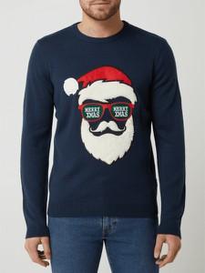 Granatowy sweter Only & Sons w młodzieżowym stylu z okrągłym dekoltem