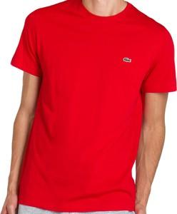Czerwony t-shirt Lacoste z krótkim rękawem