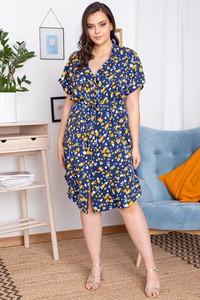 Sukienka KARKO z krótkim rękawem z dekoltem w kształcie litery v
