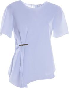 Niebieska bluzka Fokus z krótkim rękawem w stylu casual z okrągłym dekoltem