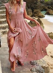 Sukienka Sandbella z dekoltem w kształcie litery v w stylu boho
