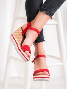 Sandały Czasnabuty na wysokim obcasie z zamszu