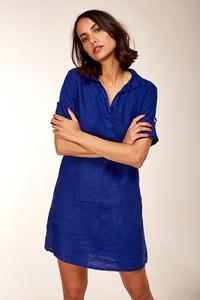 Sukienka 100% Lin z dekoltem w kształcie litery v mini