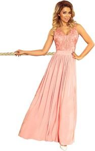 Różowa sukienka NUMOCO bez rękawów maxi z dekoltem w kształcie litery v