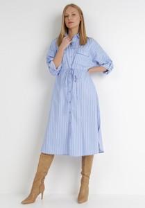 Niebieska sukienka born2be z kołnierzykiem z długim rękawem w stylu klasycznym