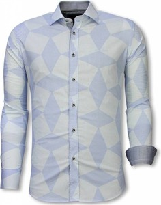 Niebieska koszula TONY BACKER z długim rękawem