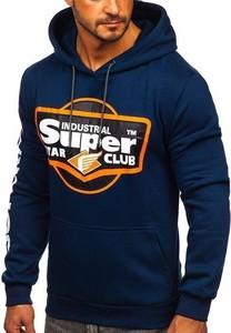 Granatowa bluza Denley z bawełny z nadrukiem