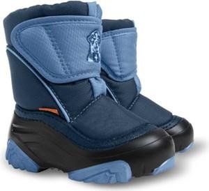 Granatowe buty dziecięce zimowe Demar z dzianiny dla chłopców