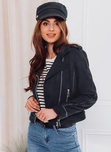 Czarna kurtka Edoti krótka w stylu casual