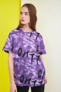 Fioletowa bluzka Trendyol z okrągłym dekoltem