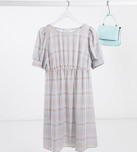 Mama Licious Mamalicious Maternity – Niebieska sukienka z bufkami i wzorem w kratę-Niebieski