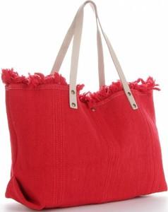 Czerwona torebka VITTORIA GOTTI ze skóry duża w wakacyjnym stylu