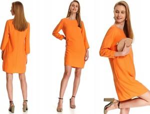 Pomarańczowa sukienka Top Secret z długim rękawem z okrągłym dekoltem prosta