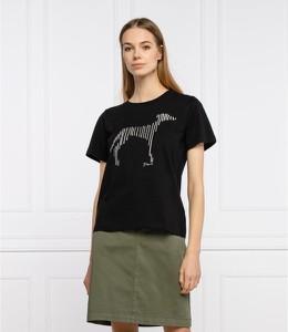Czarny t-shirt Trussardi Jeans w młodzieżowym stylu