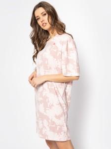 Różowa sukienka G-Star Raw mini z okrągłym dekoltem