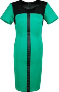 Zielona sukienka Fokus z krótkim rękawem midi z okrągłym dekoltem