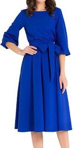 Niebieska sukienka Cikelly z okrągłym dekoltem midi