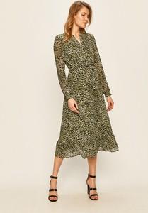 Sukienka Vila z tkaniny z długim rękawem z dekoltem w kształcie litery v