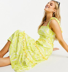 Sukienka Never Fully Dressed z krótkim rękawem z dekoltem w kształcie litery v midi