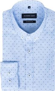 Niebieska koszula giacomo conti z długim rękawem z bawełny