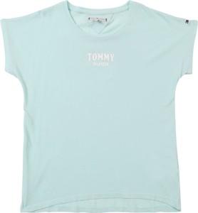 Niebieska bluzka dziecięca Tommy Hilfiger z tkaniny