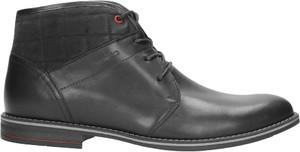 Czarne buty zimowe Wojas ze skóry w stylu casual