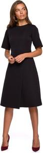 Czarna sukienka Style z okrągłym dekoltem kopertowa