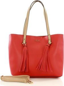 Czerwona torebka NOBO duża z frędzlami w wakacyjnym stylu