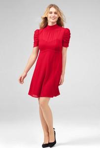 Czerwona sukienka ORSAY mini z krótkim rękawem z okrągłym dekoltem