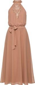 Różowa sukienka bonprix BODYFLIRT boutique bez rękawów maxi