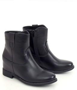 Czarne botki Buty Damskie w stylu casual
