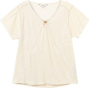 Bluzka Desigual z dekoltem w kształcie litery v z krótkim rękawem
