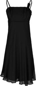 Czarna sukienka Fokus midi bez rękawów trapezowa