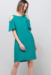 Turkusowa sukienka Monnari z odkrytymi ramionami w stylu casual hiszpanka
