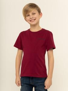 Czerwona koszulka dziecięca Calvin Klein z jeansu z krótkim rękawem