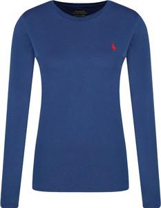 Niebieska bluzka POLO RALPH LAUREN z okrągłym dekoltem z długim rękawem