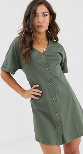 Zielona sukienka Asos Design z dżerseju mini z dekoltem w kształcie litery v