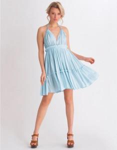 Niebieska sukienka Bad Icon z dekoltem w kształcie litery v mini na ramiączkach