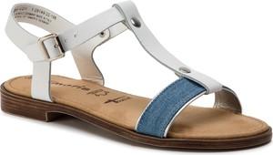 Niebieskie sandały Tamaris z klamrami ze skóry w stylu casual