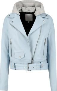 Niebieska kurtka Tommy Hilfiger krótka w stylu casual ze skóry