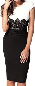 Czarna sukienka Arilook z okrągłym dekoltem midi ołówkowa