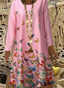 Różowa sukienka Cikelly w stylu casual z długim rękawem