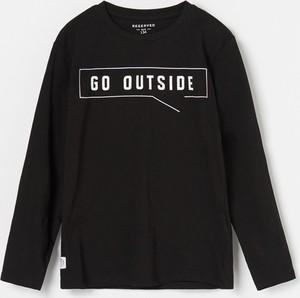 Czarna koszulka dziecięca Reserved z bawełny z długim rękawem