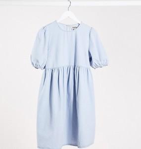 New Look Maternity – Niebieska sukienka jeansowa z bufiastymi rękawami-Niebieski
